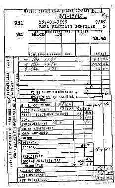 Earl Franklin Jefferies pay stub Sept 1939